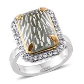 Everlasting by Katie Rooke Green Amethyst, White Topaz 14K YG and Platinum Over Sterling Silver Ring (Size 6.0) TGW 7.800 cts.