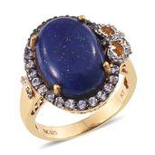 Lapis Lazuli, Tanzanite, White Topaz 14K YG Over Sterling Silver Ring (Size 8.0) TGW 14.50 cts.