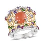 Peach Moonstone, Multi Gemstone 14K YG and Platinum Over Sterling Silver Openwork Ring (Size 8.0) TGW 6.430 cts.