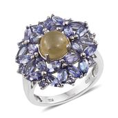 Cats Eye Apatite, Tanzanite Platinum Over Sterling Silver Ring (Size 6.0) TGW 7.270 cts.