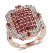 Mahenge Rose Spinel, White Topaz 14K RG Over Sterling Silver Ring (Size 7.0) TGW 3.24 cts.