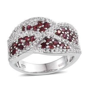 Mahenge Rose Spinel, White Topaz Platinum Over Sterling Silver Ring (Size 7.0) TGW 2.37 cts.