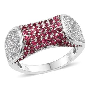 Mahenge Rose Spinel, White Topaz Platinum Over Sterling Silver Ring (Size 7.0) TGW 2.32 cts.