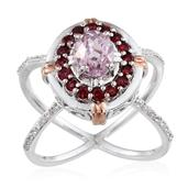 Kunzite, Mahenge Rose Spinel, White Zircon 14K RG and Platinum Over Sterling Silver Dual Band Open Criss Cross Ring (Size 8.0) TGW 2.940 cts.
