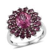 Pure Pink Mystic Topaz, Orissa Rhodolite Garnet Platinum Over Sterling Silver Ring (Size 8.0) TGW 7.350 cts.