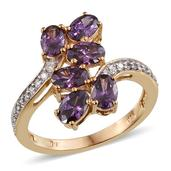 J Francis - Ring in 14K YG Overlay Sterling Silver Nickel Free Made with Purple SWAROVSKI ZIRCONIA (Size 9.0) TGW 4.340 cts.
