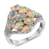 Ethiopian Welo Opal, White Topaz Platinum Over Sterling Silver Split Ring (Size 8.0) TGW 3.30 cts.