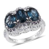 London Blue Topaz, Bekily Color Change Garnet, White Topaz Platinum Over Sterling Silver Ring (Size 8.0) TGW 6.240 cts.