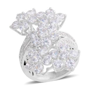 J Francis - Platinum Over Sterling Silver Floral Bypass Ring Made with SWAROVSKI ZIRCONIA (Size 6.0) TGW 10.300 cts.