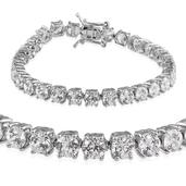 J Francis - Platinum Over Sterling Silver Bracelet Made with SWAROVSKI ZIRCONIA (6.50 In) TGW 26.350 cts.