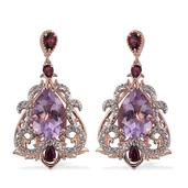Royal Jaipur Rose De France Amethyst, Multi Gemstone 14K RG Over Sterling Silver Earrings TGW 11.36 cts.