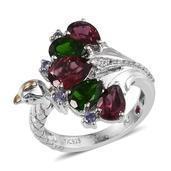 Royal Jaipur Orissa Rhodolite Garnet, Multi Gemstone Platinum Over Sterling Silver Ring (Size 7.0) TGW 5.160 cts.