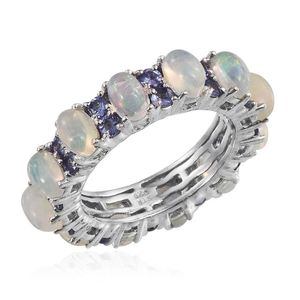 Ethiopian Welo Opal, Tanzanite Platinum Over Sterling Silver Eternity Ring (Size 7.0) TGW 4.74 cts.