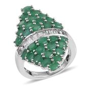 Kagem Zambian Emerald, White Topaz Platinum Over Sterling Silver Elongated Ring (Size 7.0) TGW 6.23 cts.