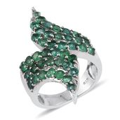 Kagem Zambian Emerald Platinum Over Sterling Silver Elongated Bypass Ring (Size 5.0) TGW 3.380 cts.