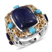 Royal Jaipur Lapis Lazuli, Arizona Sleeping Beauty Turquoise, Ruby 14K YG and Platinum Over Sterling Silver Openwork Ring (Size 10.0) TGW 17.470 cts.