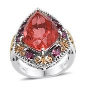 Papaya Quartz, Orissa Rhodolite Garnet 14K YG and Platinum Over Sterling Silver Ring (Size 7.0) TGW 15.05 cts.