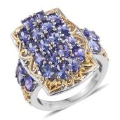 Tanzanite 14K YG and Platinum Over Sterling Silver Openwork Ring (Size 5.0) TGW 5.50 cts.
