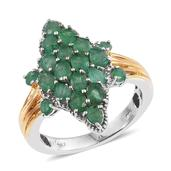 Kagem Zambian Emerald 14K YG and Platinum Over Sterling Silver Ring (Size 7.0) TGW 2.570 cts.