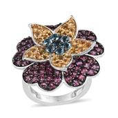 Multi Gemstone 14K YG and Platinum Over Sterling Silver Layered Floral Ring (Size 6.0) TGW 5.560 cts.