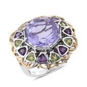 Lavender Quartz, Multi Gemstone 14K YG and Platinum Over Sterling Silver Statement Ring (Size 8.0) TGW 21.74 cts.