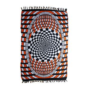 White, Orange and Black 100% Rayon Illusion Sarong (71x47 in)
