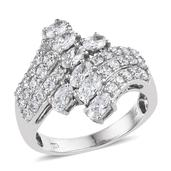 J Francis - Platinum Over Sterling Silver Ring Made with SWAROVSKI ZIRCONIA (Size 6.0) TGW 4.500 cts.