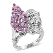 Madagascar Pink Sapphire Platinum Over Sterling Silver Mermaid Ring (Size 7.0) TGW 3.60 cts.