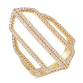 ELANZA Simulated Diamond 14K YG Over Sterling Silver Open Elongated Split Ring (Size 8.0) TGW 1.840 cts.