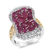 Niassa Ruby, White Topaz 14K YG and Platinum Over Sterling Silver Openwork Elongated Cluster Ring (Size 6.0) TGW 8.00 cts.