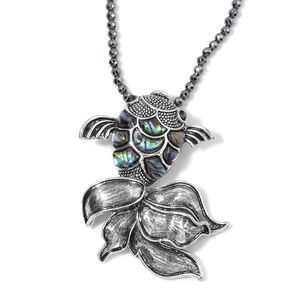 Creature Couture - Hematite, Abalone Shell, Black Austrian Crystal Silvertone Fish Pendant With Hematite Necklace (18 in) TGW 55.250 cts.