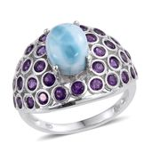 Larimar, Amethyst Platinum Over Sterling Silver Ring (Size 8.0) TGW 6.000 cts.