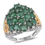 Kagem Zambian Emerald, White Topaz 14K YG and Platinum Over Sterling Silver Dragonfly Ring (Size 6.0) TGW 5.25 cts.