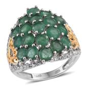 Kagem Zambian Emerald, White Topaz 14K YG and Platinum Over Sterling Silver Ring (Size 8.0) TGW 5.250 cts.