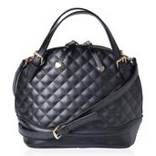 J Francis - Black Faux Leather Handbag (12x7x10 in)