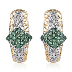 Kagem Zambian Emerald, White Topaz 14K YG and Platinum Over Sterling Silver J-Hoop Earrings TGW 2.62 Cts.