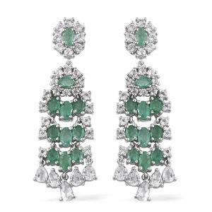 White Topaz, Kagem Zambian Emerald Platinum Over Sterling Silver Earrings TGW 8.55 Cts.