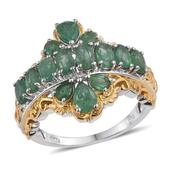 Kagem Zambian Emerald 14K YG and Platinum Over Sterling Silver Ring (Size 9.0) TGW 3.250 cts.