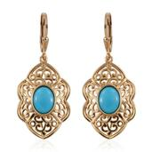 Arizona Sleeping Beauty Turquoise 14K YG Over Sterling Silver Lever Back Openwork Earrings TGW 2.60 Cts.