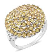 Yellow Sapphire Platinum Over Sterling Silver Cluster Ring (Size 8.0) TGW 4.50 cts.