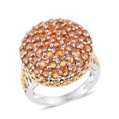 Orange Sapphire 14K YG and Platinum Over Sterling Silver Bulk Cluster Ring (Size 6.0) TGW 7.10 cts.
