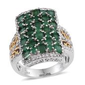 Kagem Zambian Emerald, White Topaz 14K YG and Platinum Over Sterling Silver Ring (Size 9.0) TGW 4.690 cts.