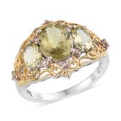 Canary Apatite, Champagne Garnet 14K YG and Platinum Over Sterling Silver Openwork Ring (Size 7.0) TGW 4.94 cts.