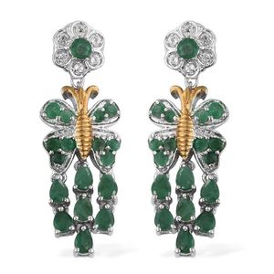 Kagem Zambian Emerald, White Topaz 14K YG and Platinum Over Sterling Silver Butterfly Chandelier Earrings TGW 3.96 cts.