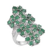 Kagem Zambian Emerald, White Topaz Platinum Over Sterling Silver Elongated Floral Ring (Size 6.0) TGW 5.80 cts.