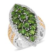 Russian Diopside, White Topaz 14K YG and Platinum Over Sterling Silver Elongated Ring (Size 7.0) TGW 6.160 cts.