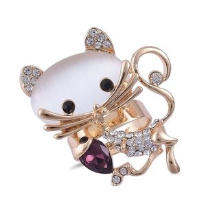 Creature Couture - Simulated Cats Eye, White and Black Austrian Crystal, Simulated Purple Diamond Goldtone Kitty Cat Ring (Adjustable) TGW 25.00 cts.