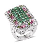 Multi Gemstone Platinum Over Sterling Silver Ring (Size 5.0) TGW 3.820 cts.