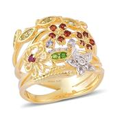 Treasures from the Orient Multi Gemstone 14K YG Over Sterling Silver Ring (Size 7.0) TGW 0.510 cts.