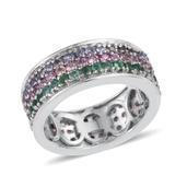 Madagascar Pink Sapphire, Tanzanite, Kagem Zambian Emerald Platinum Over Sterling Silver Cluster Band Ring (Size 6.0) TGW 3.300 cts.